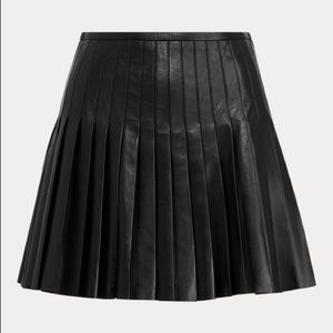 POLO RALPH LAUREN Pleated Lambskin Miniskirt